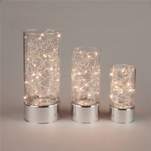 2017 newset cheap votive glass candle holder with led light,3size glass candlesticker