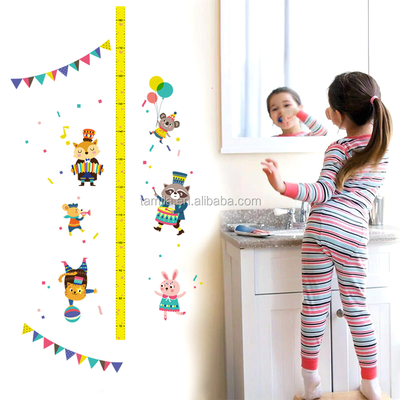 Animal circus Height Wall Stickers for kids children room bedroom waterproof removable kids height measure wall decals