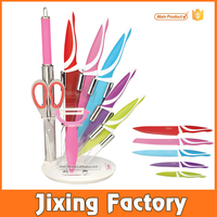 9pcs non-stick color coating knife set with sharpener and stainless steel scissors