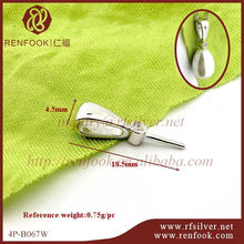 RenFook Factory direct sale 925 sterling silver pin base pearl pendant clip in rhodium plate