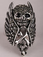 Skull wings cross snake stretch ring for women gothic punk biker jewelry 2015 top fashion silver & black tone