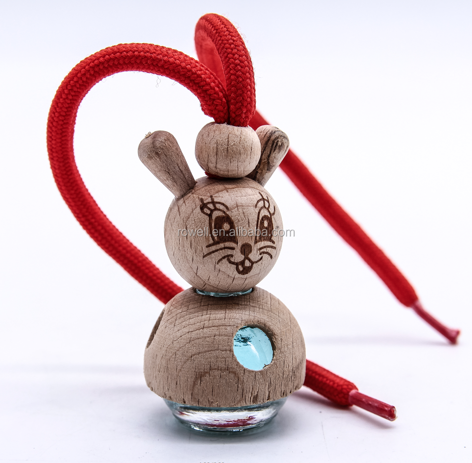 Cartoon hanging up essential oil car pendant frangrance diffuser bottles with wooden cap