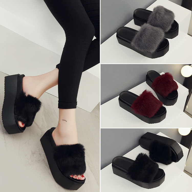 2017 new china ladies plastic fur slides