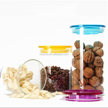 Best selling glass spice jar set of free sample food storage airtight seal plastic lid jar /Glass jar for clear kitchen