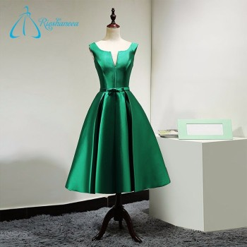 2017 A-Line Green Bow Sashes Satin Prom Dress