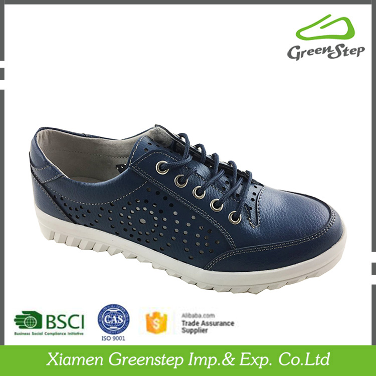 Women's Navy Lace Up Breathable Leisure Shoes UK