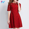 High Quality Women's red Lace Dresses Elegant Round Collars Half Sleeve Casual Bodycon Dresses