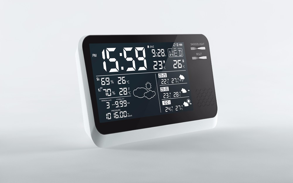Rosh remote digital clock weather station forecaster rf 433mhz wireless weather station clock