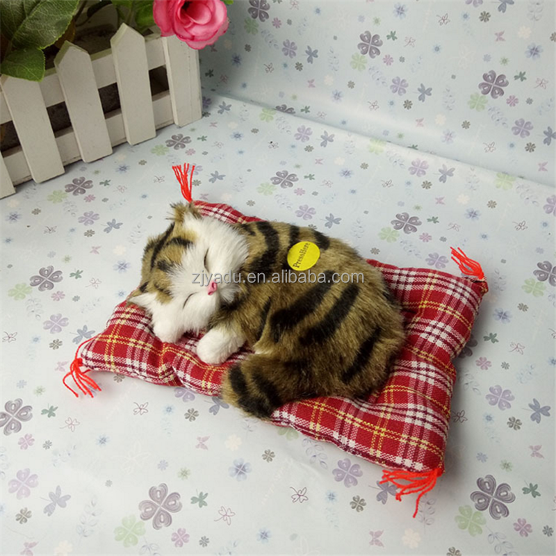 Lovely lifelike Animal Doll Plush Sleeping Cats Toy with Sound simulation cat toy wholesale