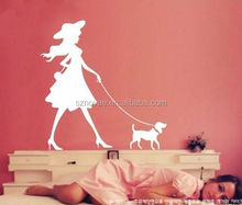 D107 Elegant Lady with dog Self Adhesive Wall Decor