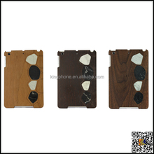 Natural wood + PU black PC wood case for iPad mini2,custom protective case