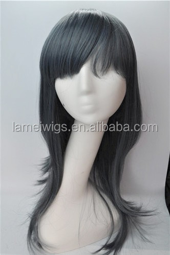 100% synthetic fiber, Ladies fashion/grey/smooth/long/straight wigs, OEM/ODM orders are welcome
