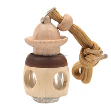 5ml car room hanging perfume essential oil air freshener auto glass wood bottle