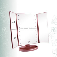 Rose gold trifold tabletop 2/3X magnifying chargeable lighted makeup mirror
