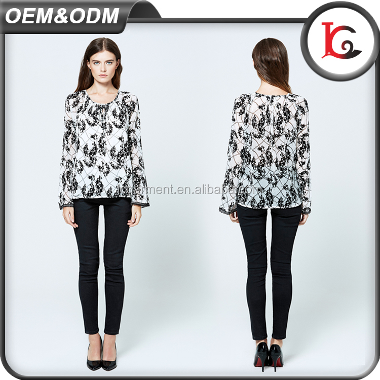 2017 summer casual printed lady blouse long sleeve woman chiffon blouse