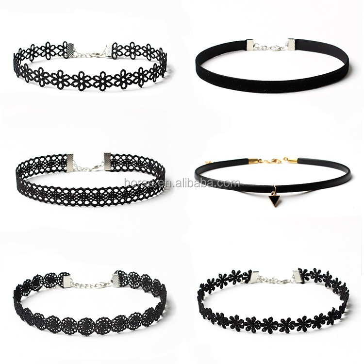 fashion girls short choker <strong>necklace</strong> jewelry black lace choker <strong>necklace</strong>