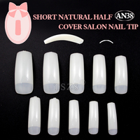 High Quality natural color salon half cover short artificial nail glamour nail tips