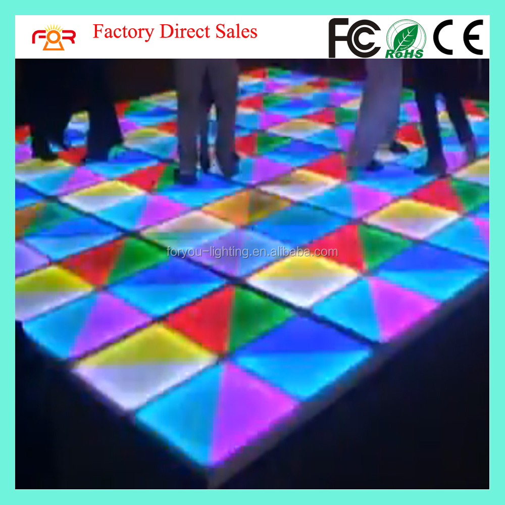Waterproof IP65 DMX512 10mm Semitranslucent Acrylic With Ray Effect 1*1m RGB Colorful 720pcs 10mm LED Dance Floor