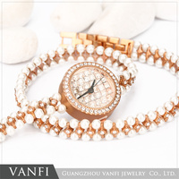 High Quality Fashion Ladies Wrist Watch Pearl Bracelet Watch