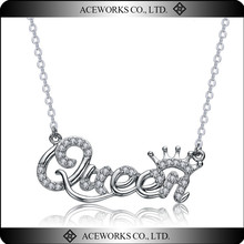 2015 New Design 925 Sterling Silver Letter Initial Queen Pendant Necklace Unique Delicate Minimalist Necklace