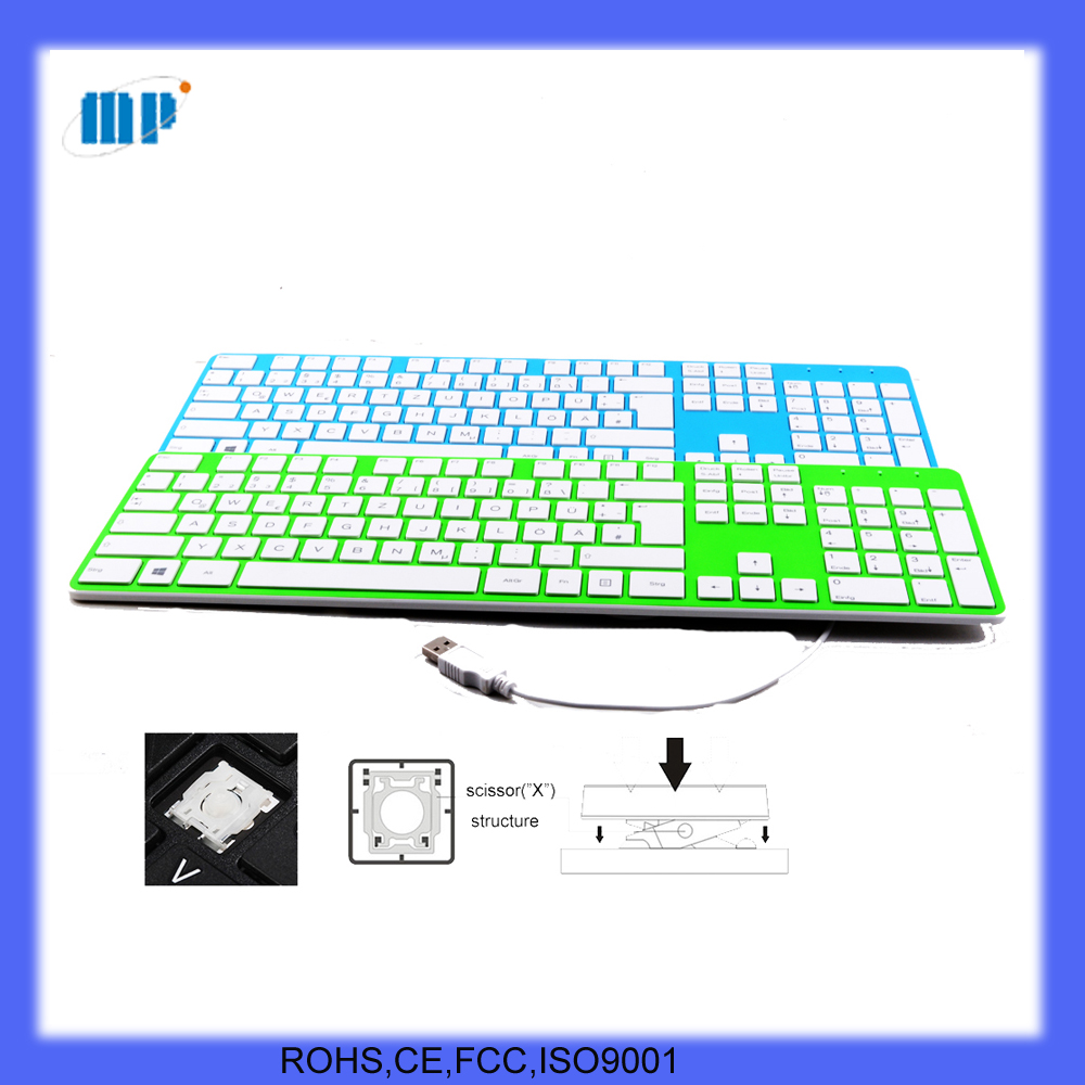 Colorfull thin USB PC keyboard with long cable