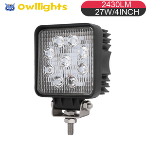 For motorcycles scooter utv rav crv 27w Small square auto parts 4 inch 27w led spot light super bright 2360lm 27w led work light