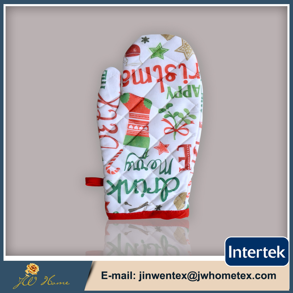 Christmas series design oven mitt kitchen gloves ,printing oven mitt best price