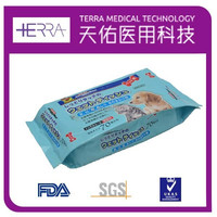 popular spunlace/non-woven Pet cleaning wet wipes clean mouth & feet pet wet wipes welcome OEM/ODM