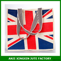 Customized Logo Eco-Friendly jute shopping bag / jute bags factory/ jute bag