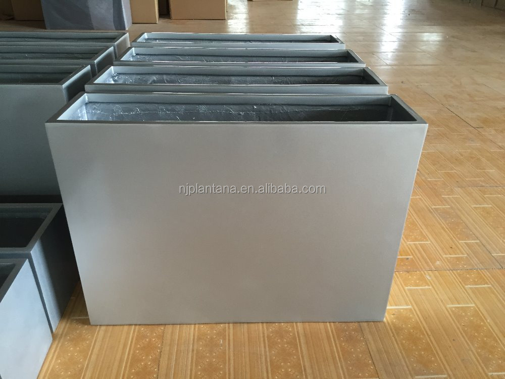 fiberglass rectangular pots glazed silver planter for indoor decoration wholesale pottery
