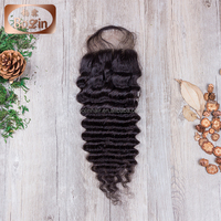 New arrive 4*4 three part lace closure brazilian clip in top closure