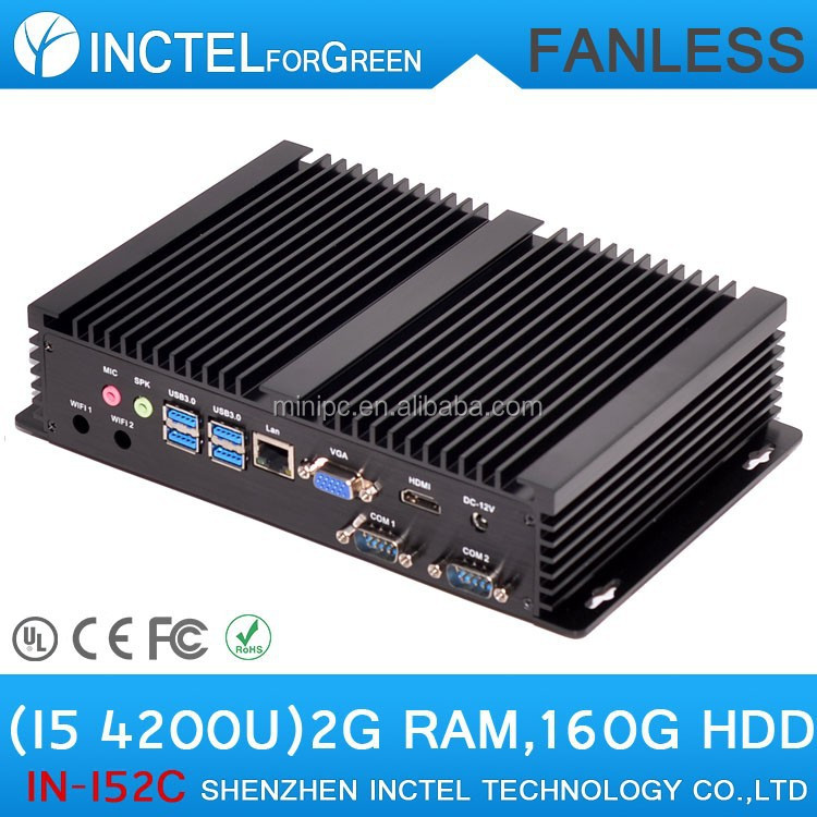 Wholesale Small PC Computer without fan with Intel i5 processor 2 COM 4 USB3.0 2G RAM 160G HDD