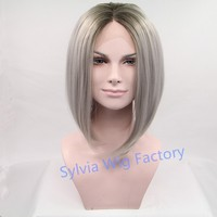 Natural look grey ombre wig dark roots short bob wigs for black women synthetic lace front wig heat resistant Hair in stock