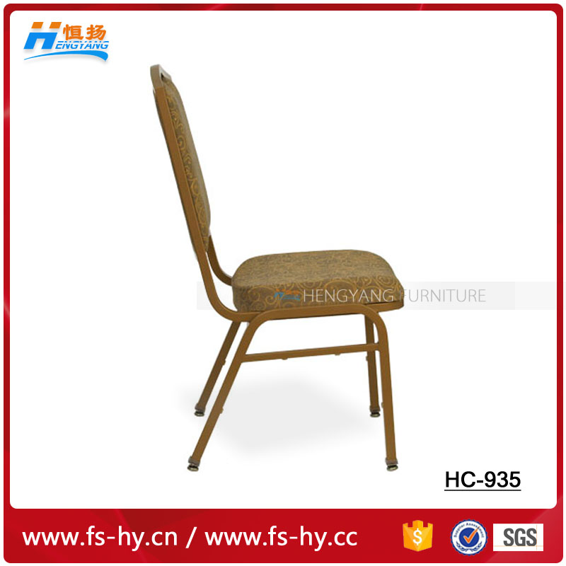 HC-935 wholesale stacking gold wedding hotel banquet chair with jacquard fabric