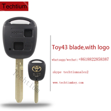 Toy43 uncut blade remote key shell with Logo Label for toyota land cruiser car key
