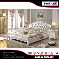 Foshan fashion king size bed white leather bed