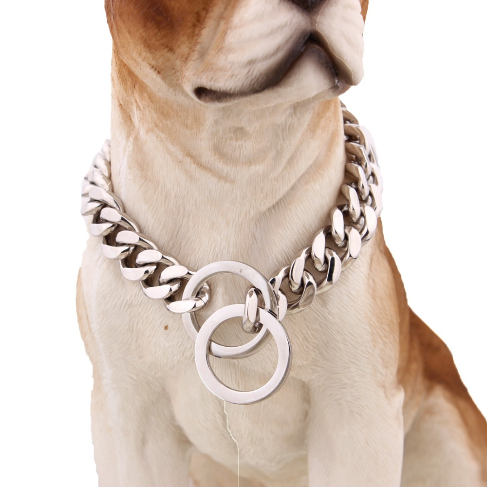 15mm 316L Stainless steel dog collar pet accessories dog lead metal dog chain collar