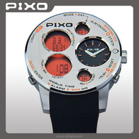 PX-18 Wholesales Good Quality stainless steel Low MOQ Orange digital multi functional outdoor sensor watch for men