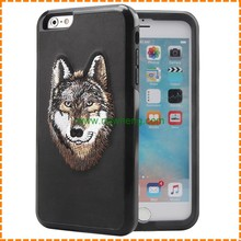 New Fashion TPU PU 2 in 1 Hybrid Shockproof Animal head Embroidery Phone Case for iPhone 7 7 plus