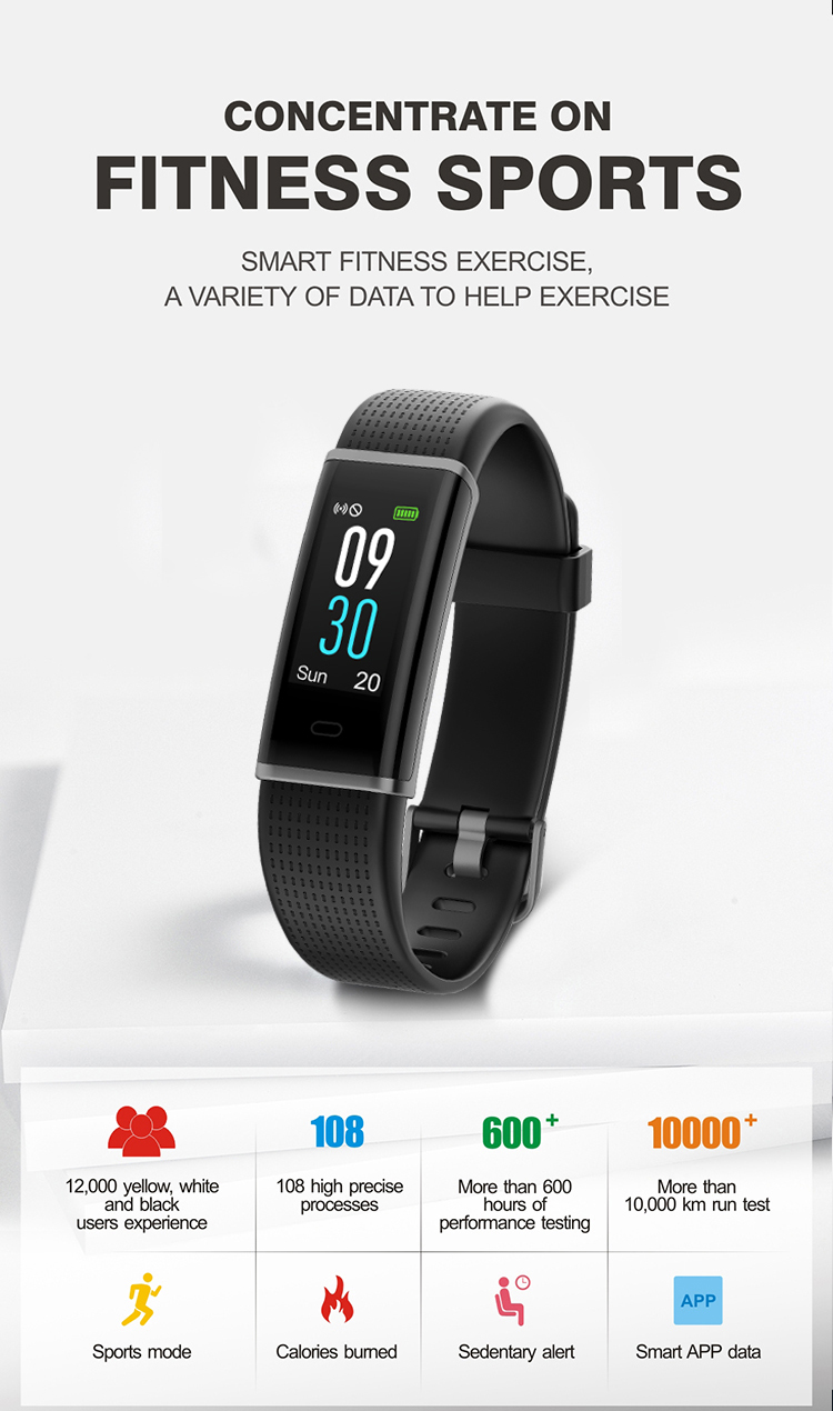 Color screen sport smart watch gps tracker with waterproof ip68 heart rate
