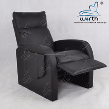 Black leather leg lift reclining single sofa with folded tray for salon furniture
