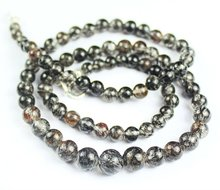 16 Inches -4.5-7MM Natural Black Rutile Smooth Polished Silver Necklace Beads Strand