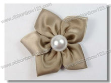 17 Colors 2013 Hot Sale Mini Satin Ribbon Flower With Pearl DIY Flowers Girl's Hair Accessories sunshine field