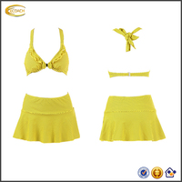 Ecoach young girls Halter Top Skirt dot printed Bikinis models wholesale open sexy girl full swimsuit photo indian open 2016