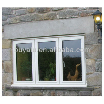 Aluminium white powder coating window aluminum double leaf double swing window