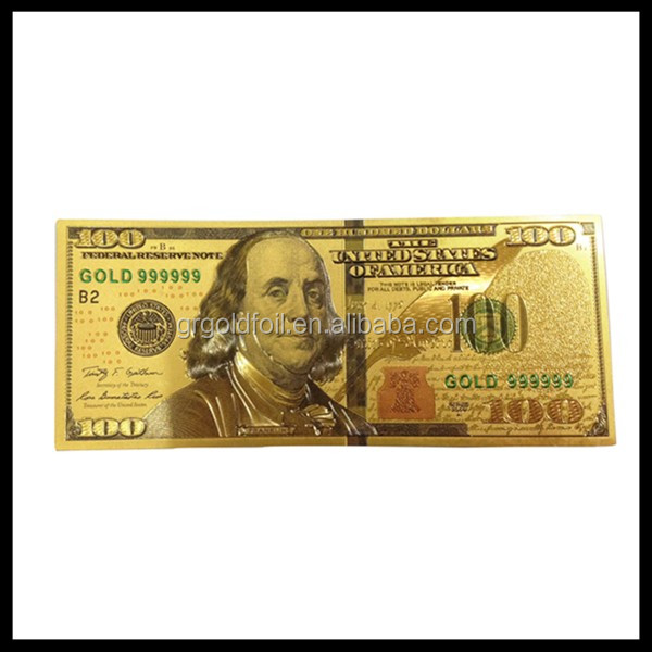 Gold foil $100 banknote Franklin image collection banknote best souvenir