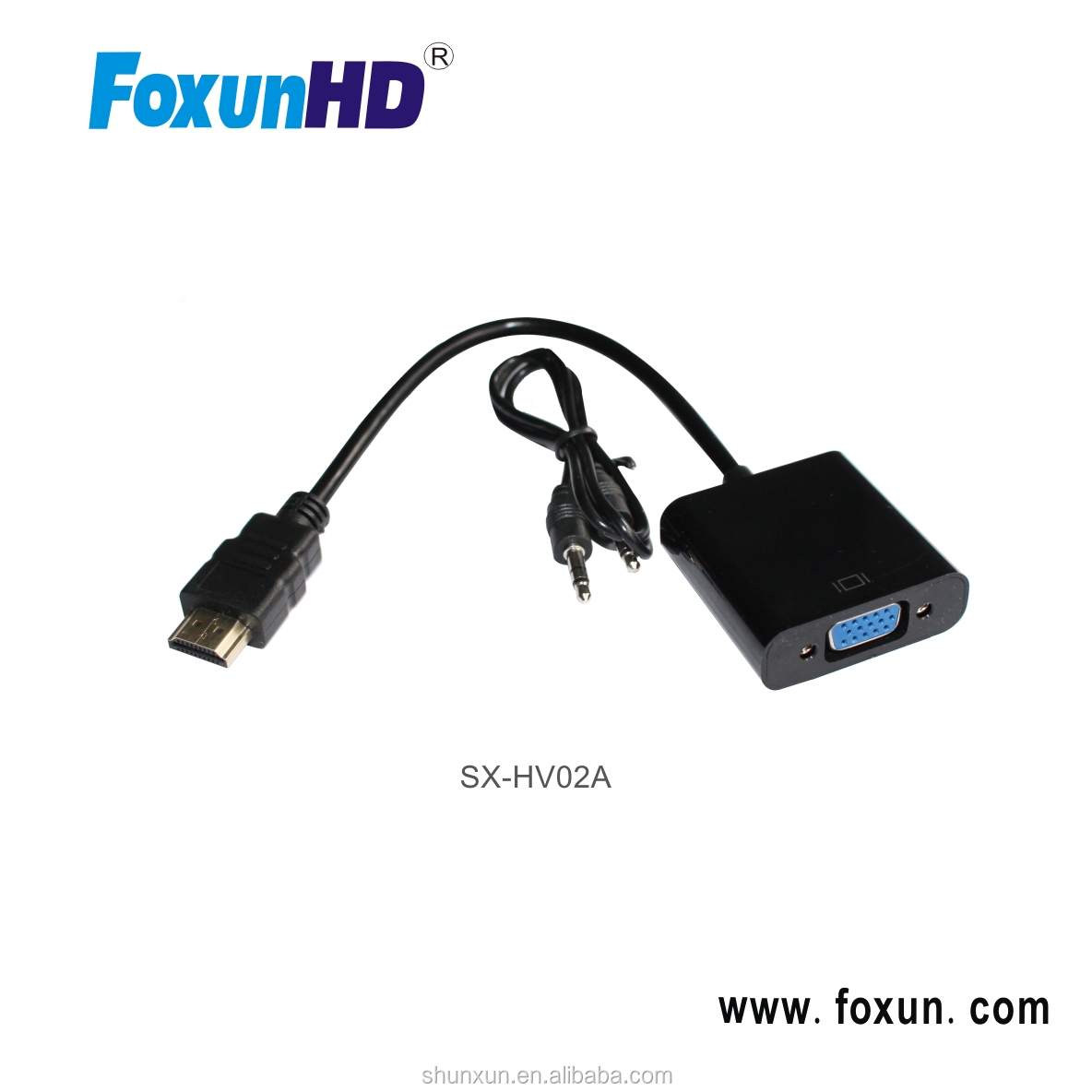 Foxun SX-HV02A HDMI to VGA Converter box with power support 1080p