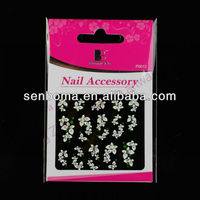 2014 Newly White Flower Design Nail Art Stickers