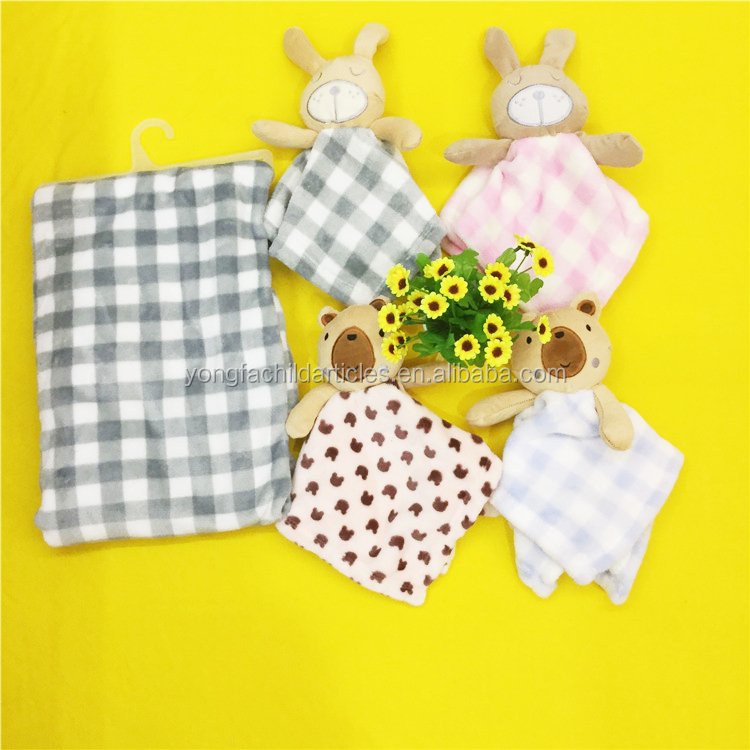 New arrival good soft fleece plush security baby blanket