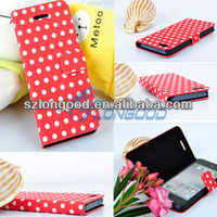POLKA DOT PU LEATHER FLIP CASE COVER FOLIO STAND FOR IPHONE 5 5G
